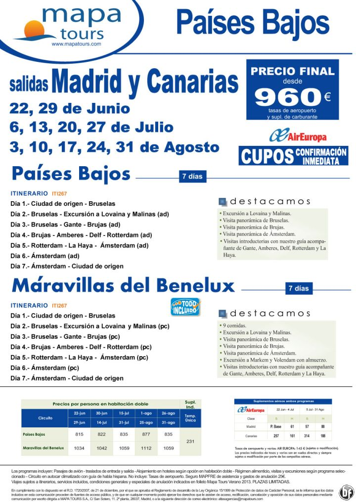 Países Bajos salidas sábados desde 22/6 hasta 31/8 desde Madrid y Canarias***desde 960 €*** - http://zocotours.com/paises-bajos-salidas-sabados-desde-226-hasta-318-desde-madrid-y-canariasdesde-960-e/