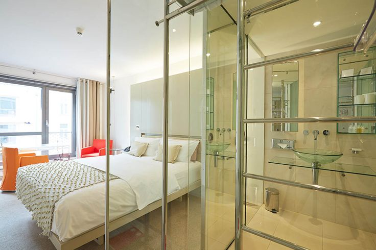 Our Double Deluxe Superior room with Glass bathroom: Design Eva Jiricna, Photo Stefan Schutz