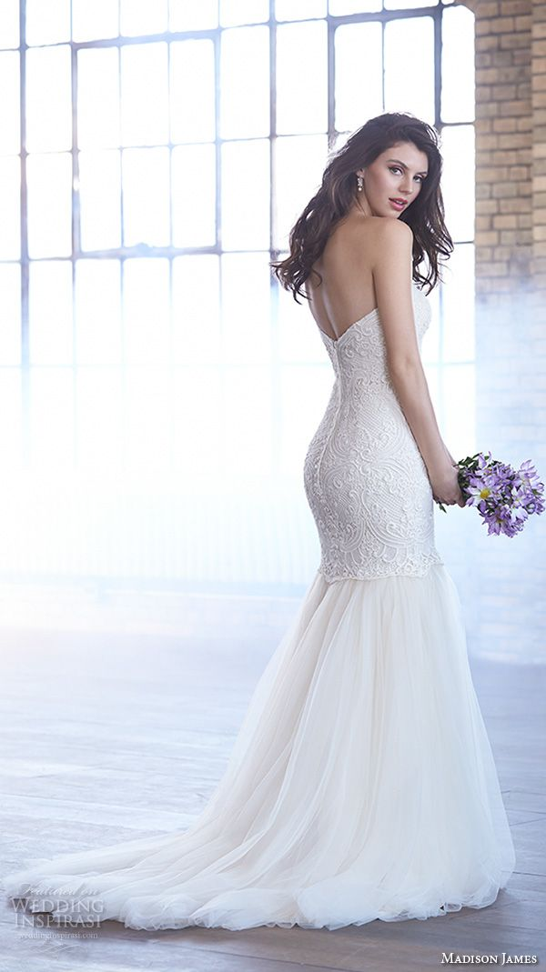 Madison James Bridal Fall 2015 Wedding Dresses | Wedding Inspirasi | Gorgeous, Embroidered Lace & Silk Tulle Trumpet Silhouette Wedding Gown Showcasing A Strapless Sweetheart Neckline, Silk Tulle Skirt, Court Length Train****