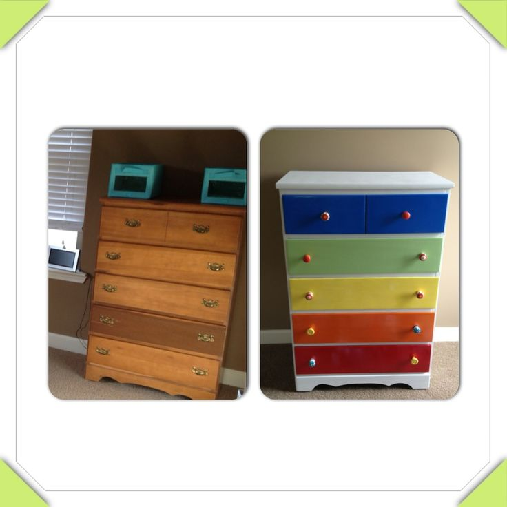 DIY kid's dresser.. A little spray paint and new knobs... Very inexpensive flip!