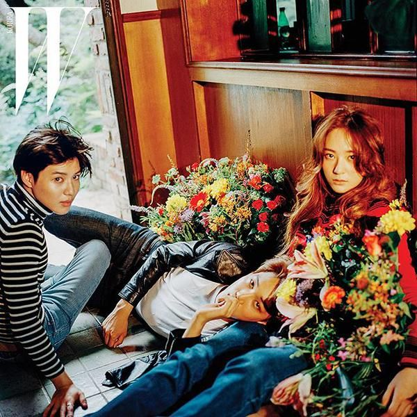 Taemin, Kai, and Krystal recently teamed up to take part in a photo shoot for fashion magazine W Korea.
