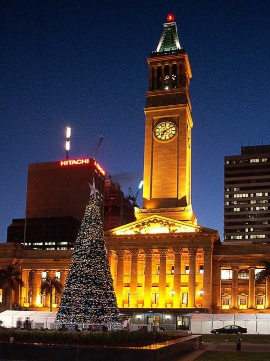 Brisbane City Hall at Christmas.                         Queensland Australia .