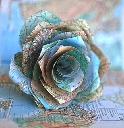 Paper rose made out of an old map.