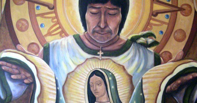 "painting of Juan Diego showing his tilma with the image of Virgen de Guadalupe by Ricardo Ortega ""El aguila que habla"""