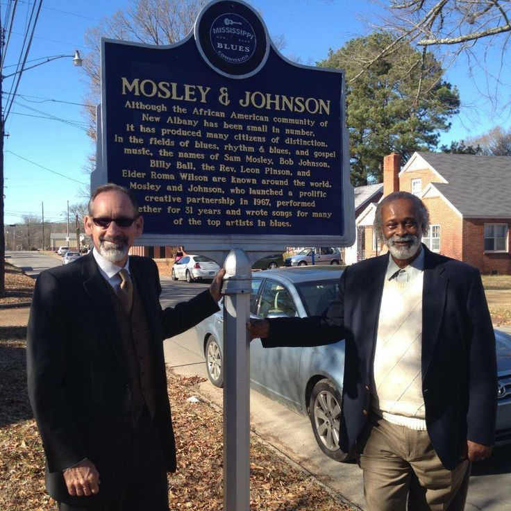 Mississippi Tourism Director Malcolm White and Sam Mosely at the Mosely & Johnson Blues Trail Marker in New Albany, Mississippi.