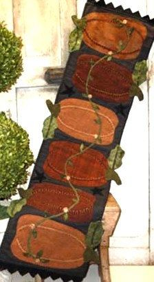 Wool Applique Pattern Pumpkin Harvest Wool by FiddlestixDesign