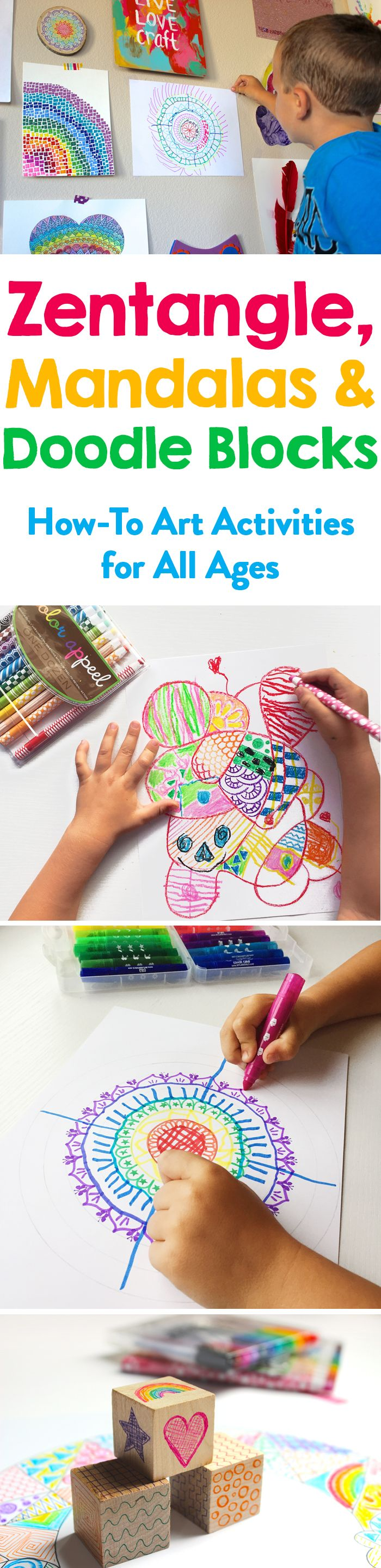 Easy step by step Zentangle, Mandalas, and a creative doodle game for kids and adults to promote your creativity.