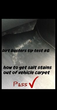 We tested someone's pin on how to get salt stains out of your vehicle carpet.  It's a pass!  Click here to get the recipe - http://laceylovers.blog.ca/2015/04/14/dirt-buster-tip-test-6-getting-salt-stains-out-of-your-vehicle-carpet-20236803/ #cleaning #cleaningDIY #saltstains