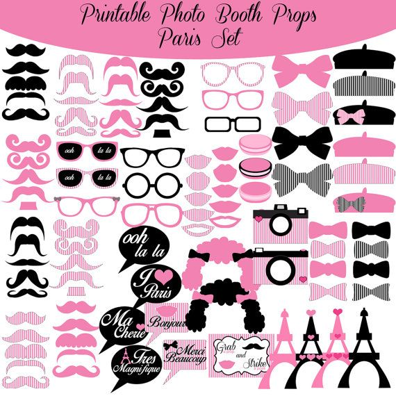 Paris French Pink And Black Printable Photo Booth Photobooth Props www.amandakeyt.com