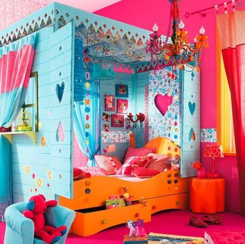 Pink, orange and light blue colours. Pink walls and floor. Lots of decorations.