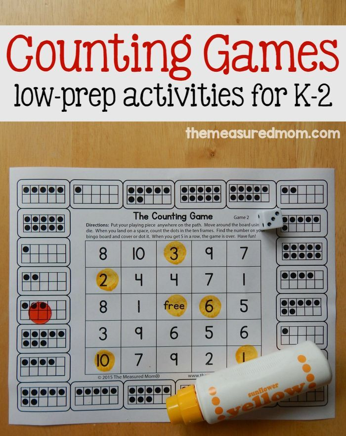 Print these free counting games! Kids can count using fingers, tally marks, ten frames, and more! Great for differentiation!
