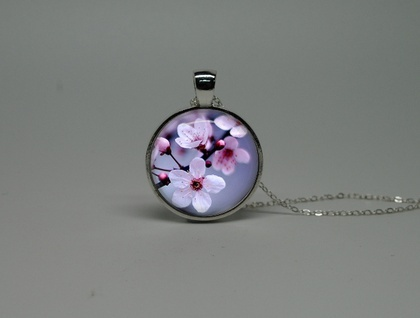 Silver Glass Necklace with Cherry Blossom