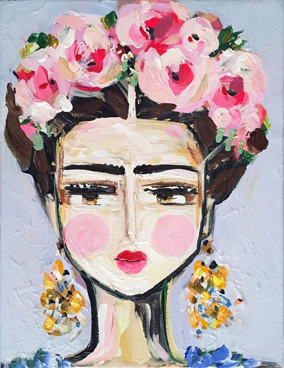 Fine Day Frida  Size: Various, see pull down menu  Frida Kahlo in a stylized version, soft and pretty color.   Questions, just ask!!    Original art becomes property of buyer, seller retains right to sell prints unless discussed prior to sale.