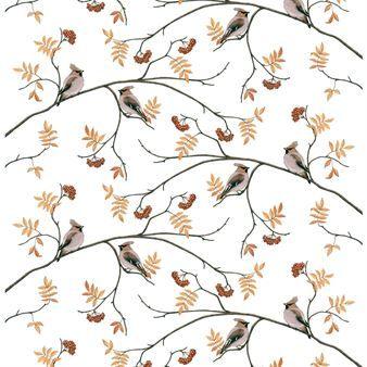 Det vackra tyget Sidensvansar från svenska Arvidssons Textil är designat av Mia-Lotta Arvidsson Mars. Tyget är tillverkat i mjuk och följsam bomull med ett härligt mönster föreställandes Sidensvansar i höstlika färger. Tyget kan användas som draperi, duk eller gardin, matcha det gärna med textilier i liknande färger för en fin helhet!