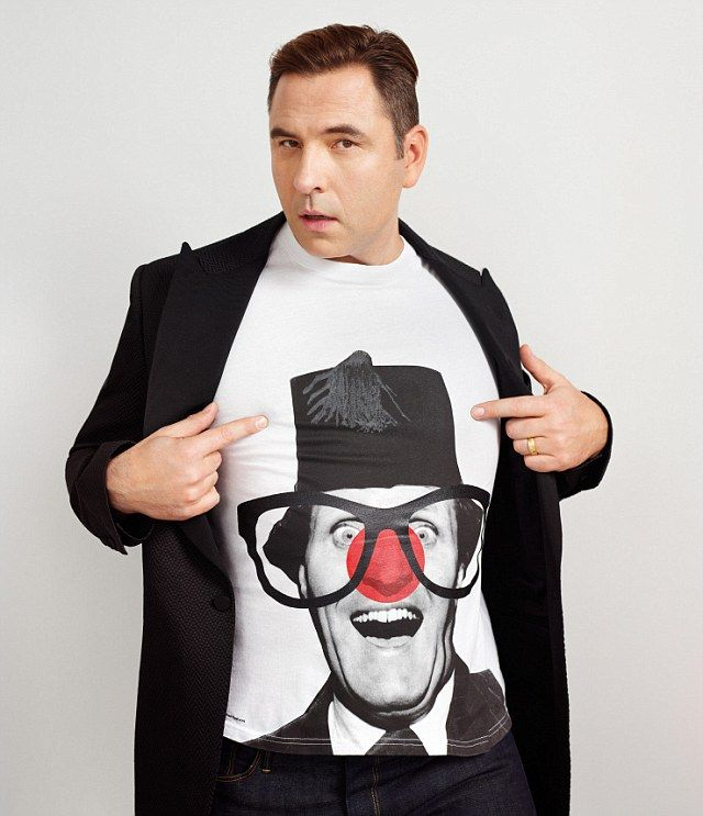 Funny-man David Walliams strikes a pose wearing the Tommy Cooper t-shirt design
