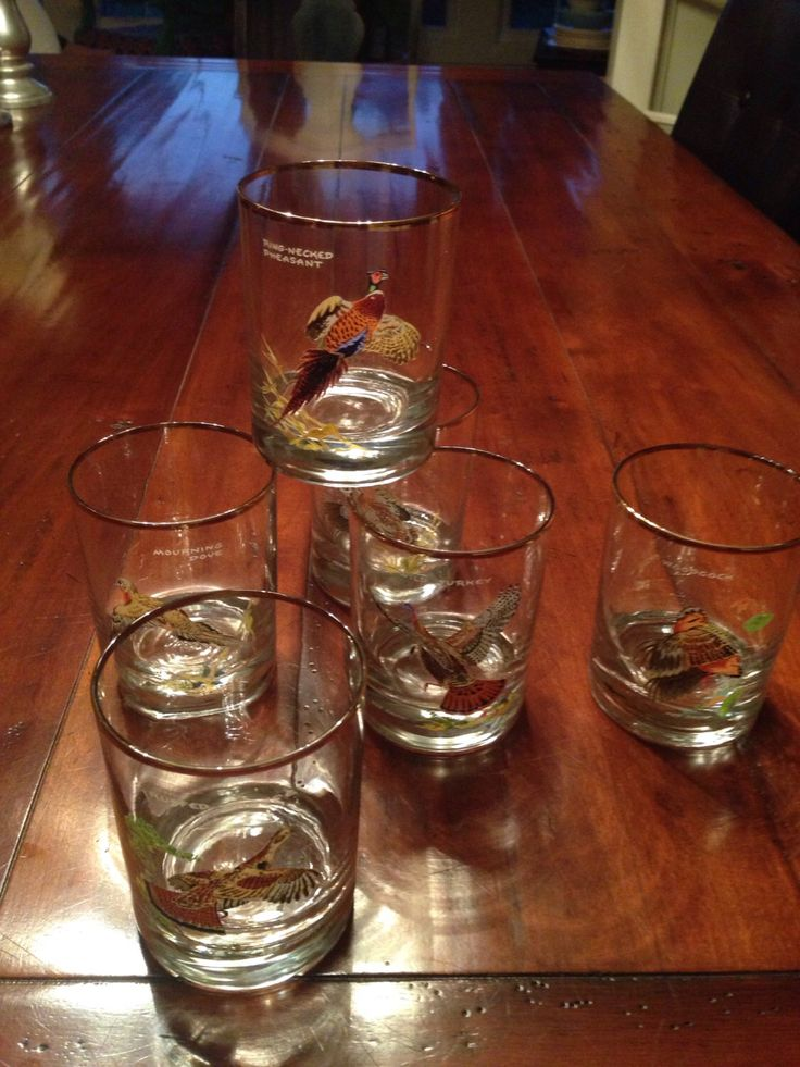 Ned Smith game birds low ball glasses - heavy bottom- Set of 6 woodcock wild turkey mourning dove bob-white ring-neck pheasant ruffed grouse by shhhitsvintage on Etsy https://www.etsy.com/listing/462335109/ned-smith-game-birds-low-ball-glasses