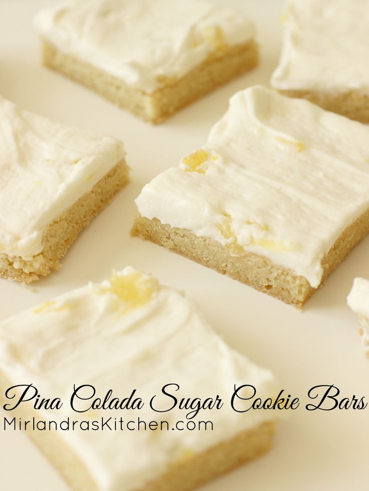 These Pina Colada Cookie Bars are the perfect pineapple and coconut dessert. Chewy coconut scented sugar cookies are topped with a fruity buttercream. The buttercream is kid friendly but I do give a more grown up option in the notes if you would like one. Try these for Cinco De Mayo and don't be surprised if you end up making them all summer long!