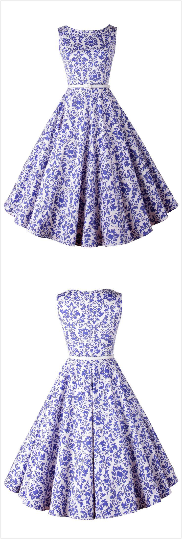 Blue White Porcelain Sleeveless Swing Dress
