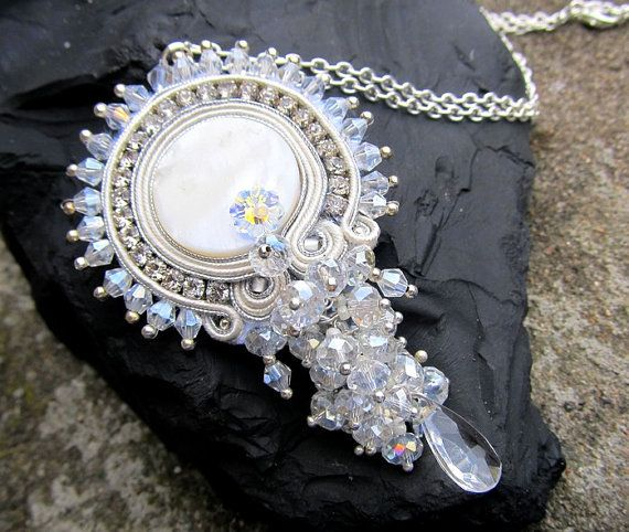 White Soutache Crystal Necklace with Swarovski by IncrediblesTN, $49.00