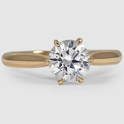 18K Yellow Gold Catalina Ring // Set with a 1.15 Carat, Round, Super Ideal Cut, H Color, VS1 Clarity Diamond #BrilliantEarth