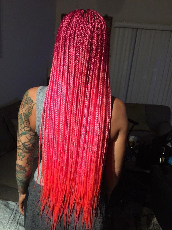 Long Pink Cornrow Braids Pink Box Braids Braided
