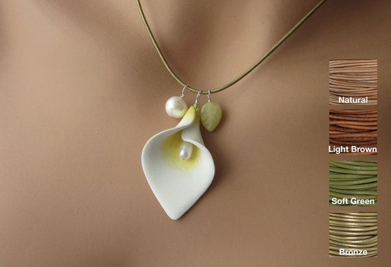 Inspiration:  Cala Lily; white Polymer Clay, Freshwater Pearls, Jade Leaf, Choose Your Leather Cord and Length