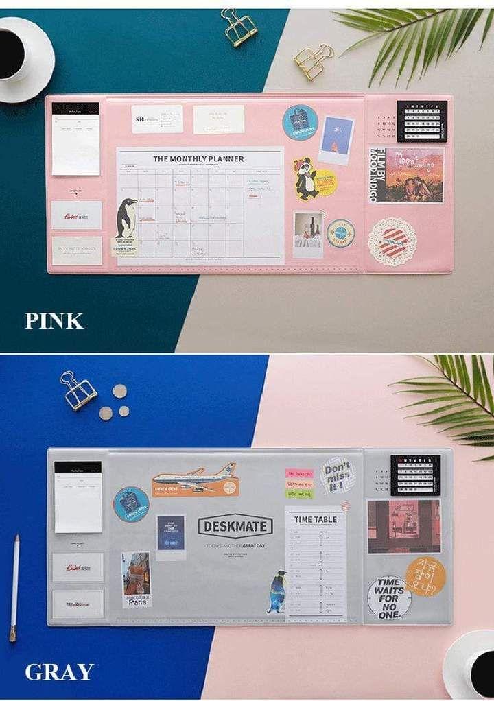 Office Desk Mat Waterproof Pvc Laptop Cushion Organizer With Calendar Desk Mat Student Desk Organization Desk Organization
