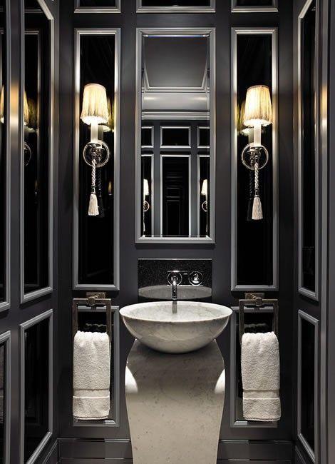 Powder Room By Amy Kartheiser Design: Bathroom Design Black Image By Amy Harmeier On Interiors