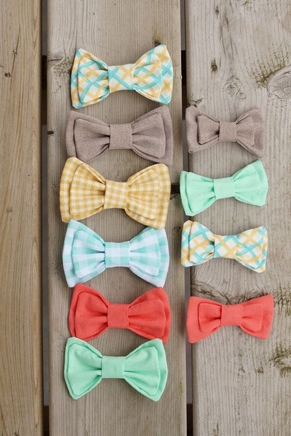 Handmade clip-on bow ties for the little and big men in your wedding party - or for any occasion! Chose a color from the above picture or have yours