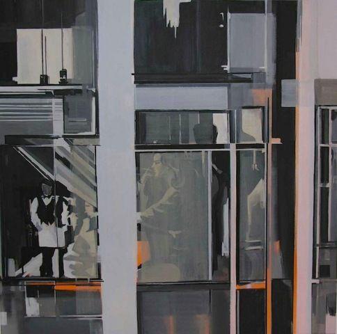 Giorgos saltaferos, acrylics,100x100cm,2004