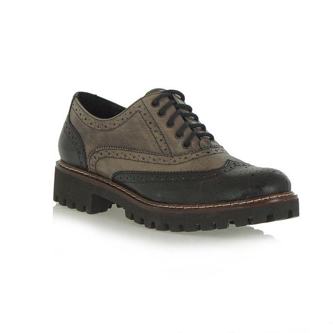 μαύρο-γκρί δερμάτινα παπούτσια τύπου oxford | Tsakiris Mallas