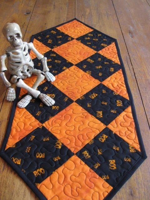 SALE 500 off BOO Halloween Table Runner by Quiltedhearts5