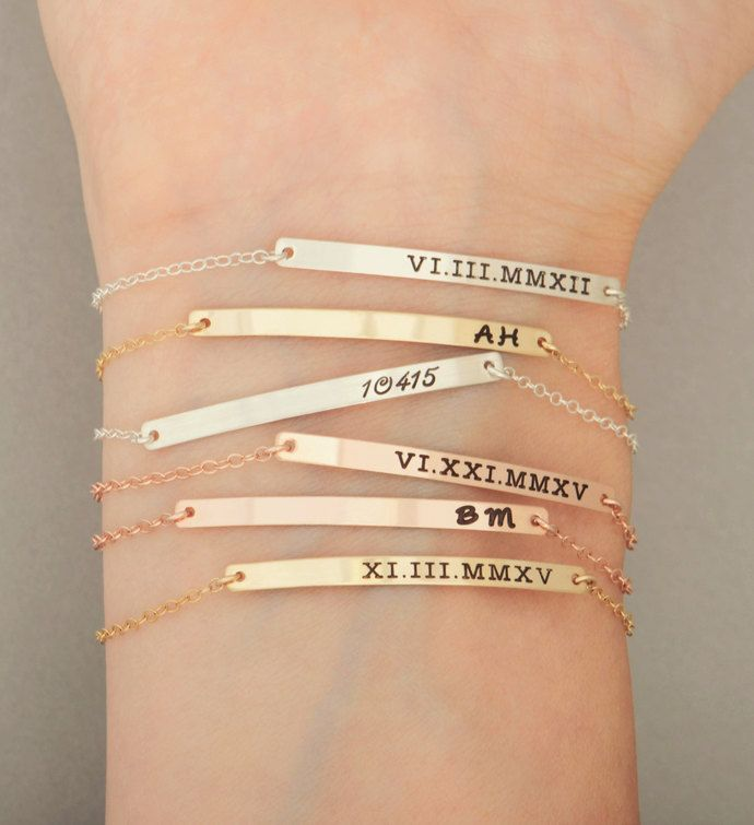 Gold Personalized Bar Bracelet Name Engraved Rosegold Silver Bridesmaid Jewelry Nameplate Valentine Day Bangles And