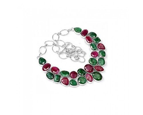Unique 925 sterling silver Indian Ruby And Emerald Gemstone Cluster  Necklace necklace