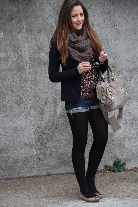 Black Tights Fashion: Cuffed-Denim-Shorts | Fashion:Lady's ...