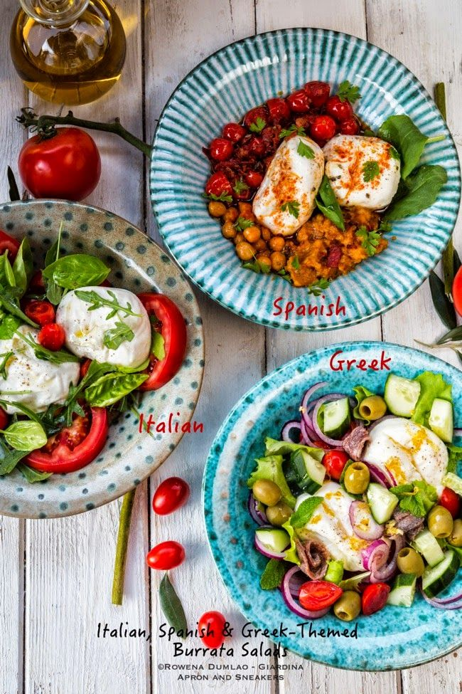 Apron and Sneakers - Cooking & Traveling in Italy and Beyond: 3 Mediterranean-Style Salads (Italian, Spanish and Greek) with Burrata