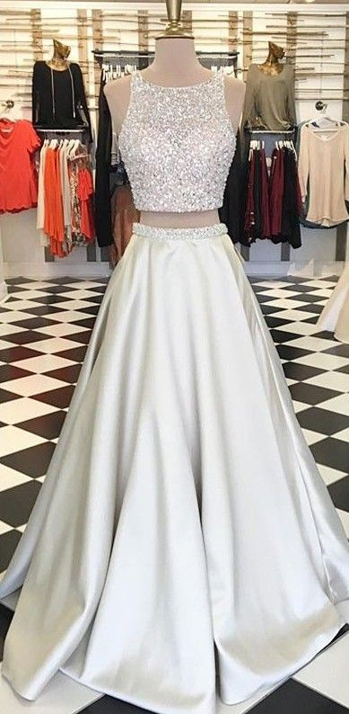 2017 prom dresses, two pieces prom dresses, A-line prom dresses, white prom dresses, backless prom dresses, evening dresses, open back prom dresses, party dresses#SIMIBridal #promdresses