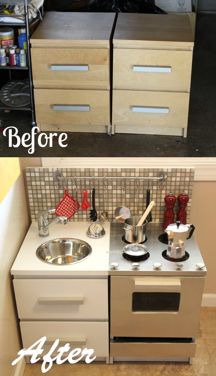 DIY  ::  Modern Play Kitchen ( this one need more skill.)  ::  Alternative idea -  Using cardboard boxs and decorating together could be a fun activity.