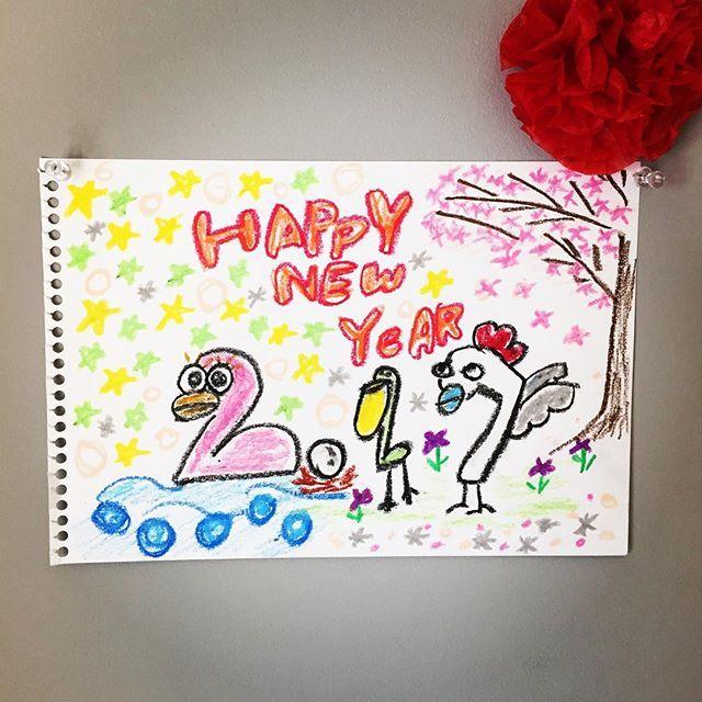 【rakugaki_0404】さんのInstagramをピンしています。 《2017 酉年 おめでとうございます。 #お正月#酉年#クレヨン#落書き#イラスト#らくがき#あけましておめでとう#なぜか#桜》