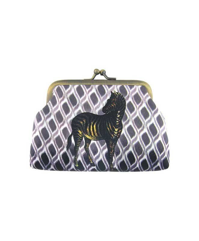 Made with SGS tested toxic-free faux/vegan leather, this vintage style kiss lock frame faux/vegan leather coin purse features lovely Zebra on ikat style print by Mlavi Studio. Wholesale available at http://mlavi.com/mlavi-animal-themed-vegan-bag-wallet-and-accessories-wholesale.html #animal #vegan #wholesale #fashion #accessories #gift