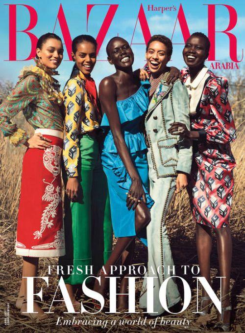 Lameka Fox, Grace Mahary, Ajak Deng, Jourdana Phillips & Nykhor Paul photographed by Silja Magg for Harper's Bazaar Arabia April 2017 #inspiration #blog #blogger #tumblr #fashion #style #models #photography #vogue http://www.midnight-charm.com/