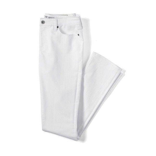 Lands' End Women's Petite Mid Rise Slim Leg Jeans ($69) ❤ liked on Polyvore featuring jeans, pants, slim jeans, lands' end, white slim jeans, lands end jeans and denim jeans