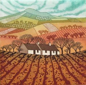 Nestled in the Landscape, Rebecca Vincent, etching 15 x 15cm, edition 50