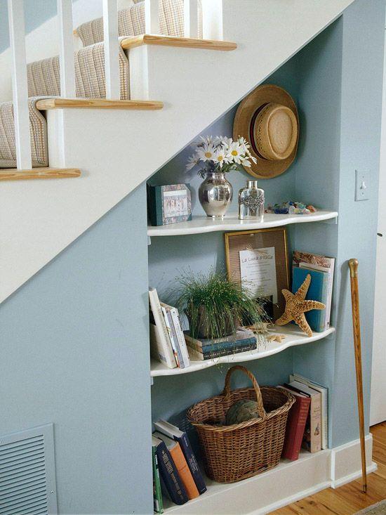 White staircase shelving ideas