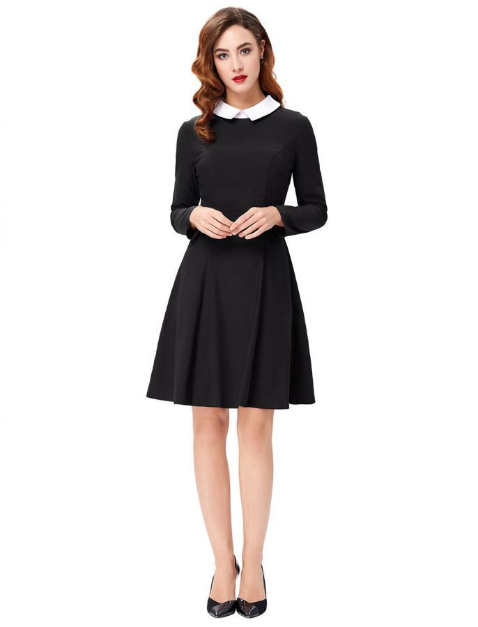 3591fa7bb4 1960s Style Long Sleeves Collared Dress - Black | Winter Shopping ...