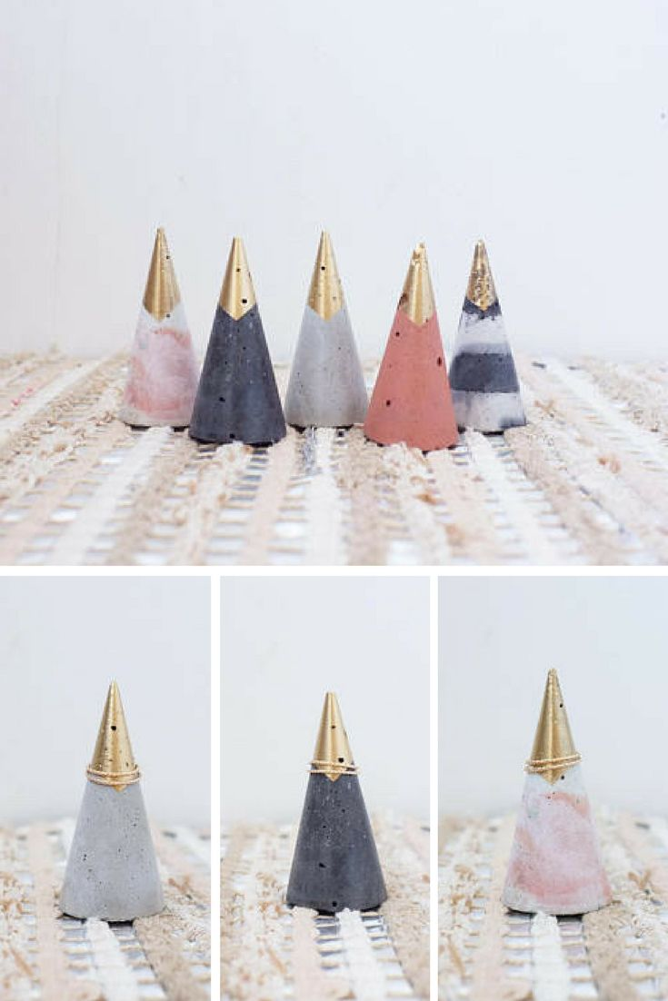 Pretty colorful concrete ring cone with a touch of gold. I want a black one. #ringcone #ringholder #concrete #cement #colorful #gold #homedecor #commissionlink