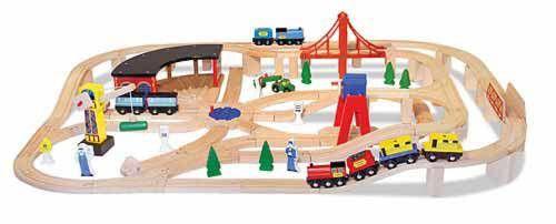 Melissa & Doug Wooden Railway Set $129.99 #trainset #railway #woodentrain #woodenrailway #melissaanddoug #toys #kutsiebaby
