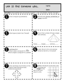 This engaging activity allows students to work in pairs to complete review problems for the geometric properties unit. Concepts include polygons, s...