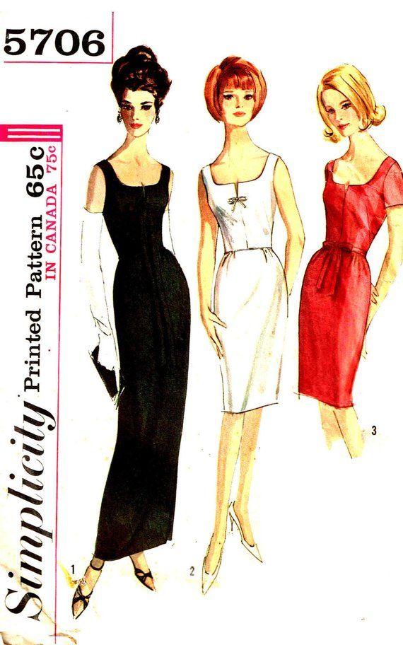 Sewing Pattern Plus Size 20 Slim Cocktail Dress Deep Scoop Neckline