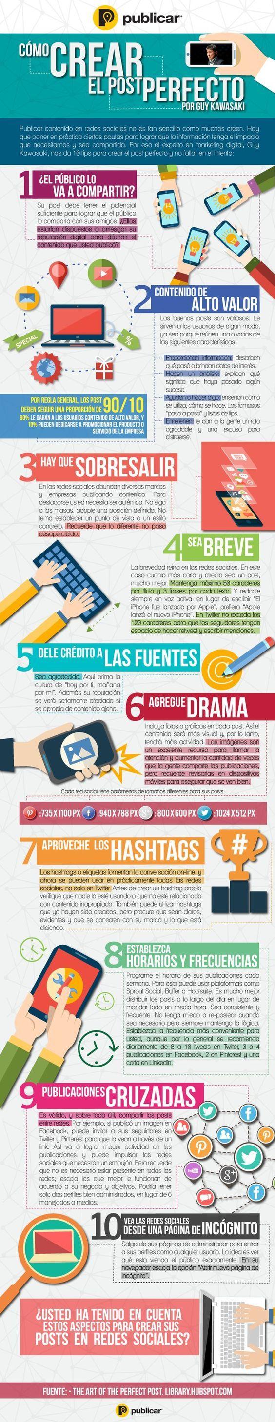 10 consejos para publicar posts sociales perfectos en redes sociales. #Infografía en castellano.: